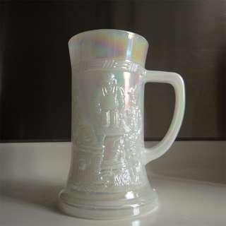 Federal 1960s 美國製 炫彩浮凸耐熱奶白玻璃杯 啤酒杯 GLASS