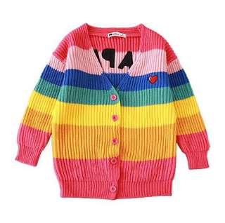 【BABYWEAR】【CLOTHING】【GIRL】PCO0006 CHILDREN BABY TODDLER GIRL COLORFUL RAINBOW HAPPY CARDIGAN OUTWEAR