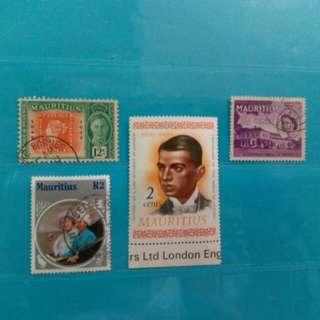 Set of 4 Mauritius stamps, Gandhi