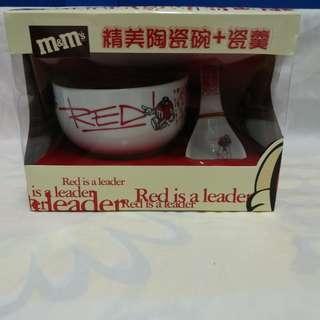 絕版全新 M & M'S 紅色豆精美陶瓷碗 + 瓷羹一套 2 件