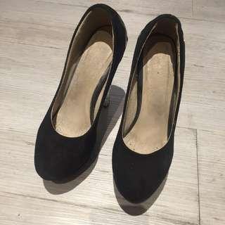 絨布水晶跟高跟鞋黑38