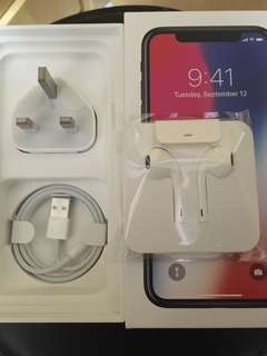 100%New Apple IPhone X Lightning Earphone(no 3.5mm adapter) Lightning Cable and Charger