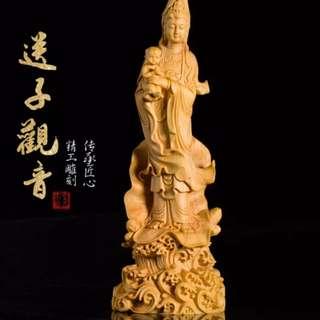 【禮贊精品文物館·送子觀音】黃陽木送子觀音木雕佛具典藏文物意境開運招財擺設居家生活美化環境