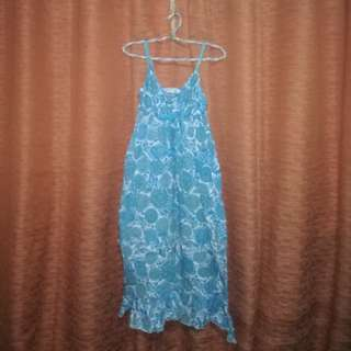 Blue Printed Mid Dress