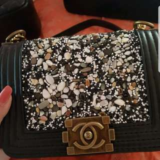 Chanel small boy with crystal bag