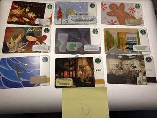9 x 美國星巴克咭Starbucks cards - set D