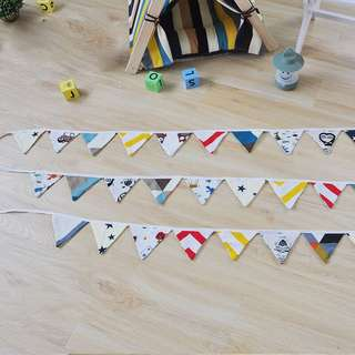 (PO) Home Deco For Party Events /Room etc Fabric Triangle Flags Designs