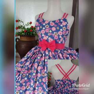 Printed Floral Bow Dress