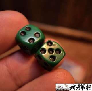 【吉祥】藏傳老綠料吉祥天母骰子一對