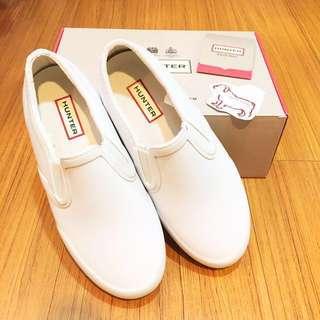 HUNTER BOOTS 防水小白鞋 懶人鞋 UK5 Refined Plimsole