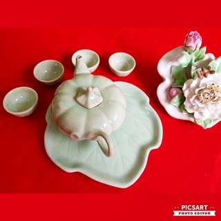 Vintage Chinese Hand-made Jade Green Mini Teaset. Dimensions as in photos.  Good condition, no chip no crack. $15 Clearance offer. Sms 96337309 for fast deal.