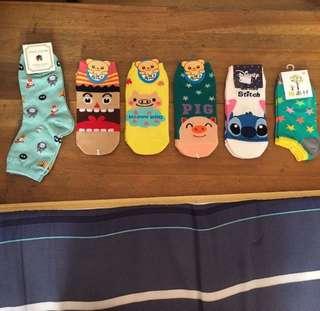 六雙可愛卡通短襪