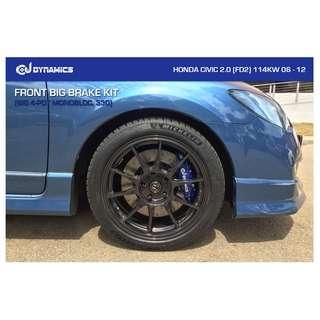 CJ DYNAMICS FRONT BIG BRAKE KIT (BIG 4-POT MONOBLOC, 330) ON HONDA CIVIC 2.0 (FD2)