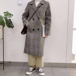 韓版灰色復古格子外套#換季五折