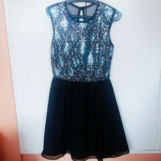 Sequined blue and black dress