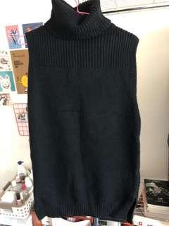 黑色高領針織長版洋裝
