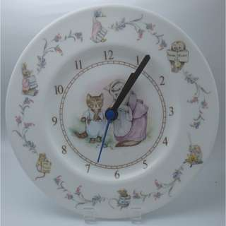 1986 ~Beatrix Potter Nursery Plate Clock Tom Kitten Royal Albert England 掛牆鐘