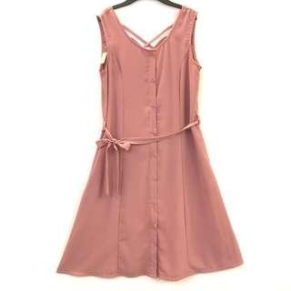 藕粉 無袖 洋裝