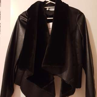 Glamorous Waterfall Faux Leather and Fur Jacket