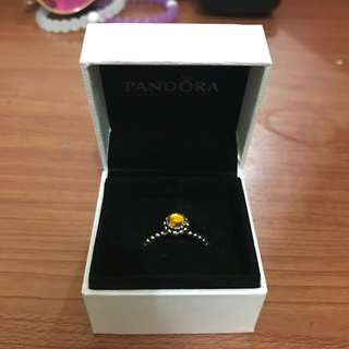 Pandora Birthstone Ring November Citrine