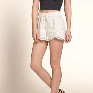 (CLEARANCE) BNWT Hollister Cream Lace Petal Drawstring Shorts