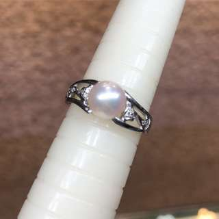 18kt pearl diamond ring 周大福