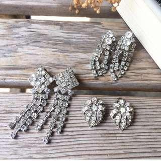 Skin&Moss復古vintage銀白璀璨萊茵石系列古董飾品老收藏耳夾耳栓