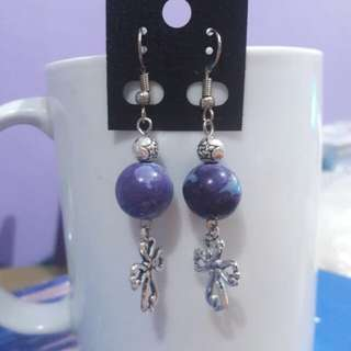 Ocean Jasper (Blue-Violet) and Cross earrings