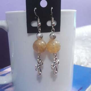Yellow Quartz and Cross earrings