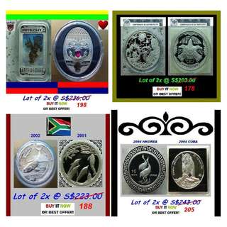 ►From S$69^ - Various Mix. 12 x 1 Troy / Oz+ Grams (999) Fine Silver Proof coins (bars ref*)