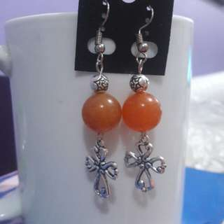 Carnelian and Cross earrings