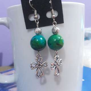 Chrysocolla and Cross earrings