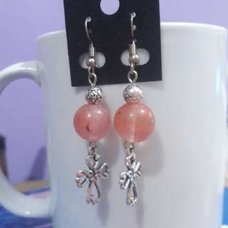 Cherry Quartz and Cross earrings