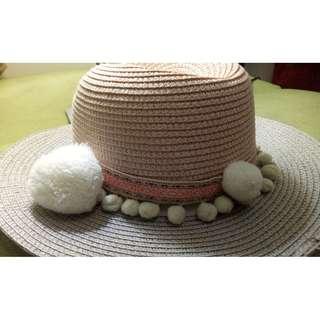 韓貨 日系 粉+米色 毛球 草帽 針織