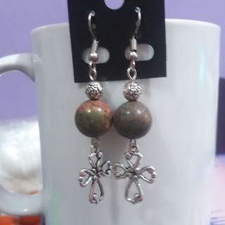 Unakite Jasper and Cross earrings