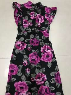 V-neck Chinese collar Dress