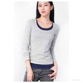 灰色假兩件長袖棉T