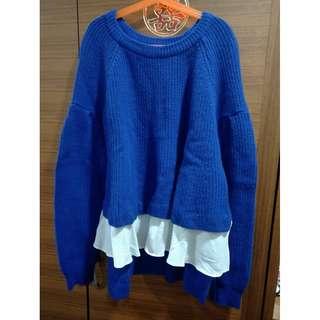 寶藍針織上衣