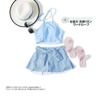 [OH_JUMP] 韓國沙灘高腰平角褲保守小胸裙式兩件式比基尼