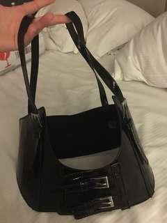 Harness corset belt black shiny pu