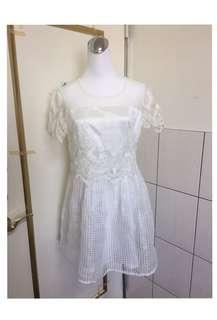 SO NICE精緻蕾絲刺繡網紗連身洋裝裙非MOMA.iroo