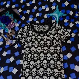 🏵黑白-骷髏滿版針織洋裝