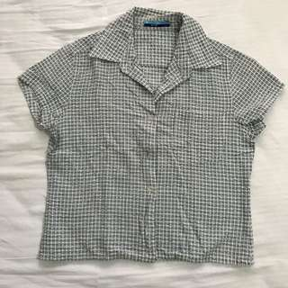 Blue Mid-crop Polo Shirt