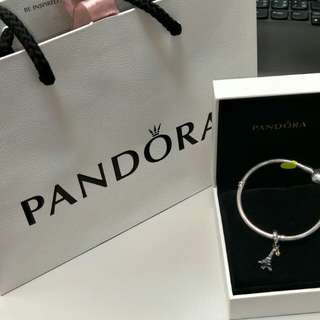 Pandora 925銀手鍊+925銀配14k金Eiffel鐵塔