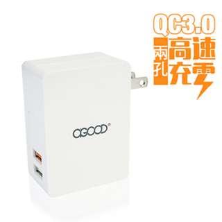 🚚 QC3.0USB超高速2孔電源充電器 快充旅充