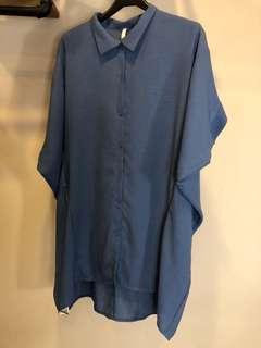 正韓藍色大尺碼孕婦媽媽襯衫寬版文青短袖長版口袋上衣洋裝