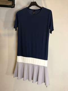 正韓短袖長版洋裝藍色白色灰色魚尾休閒上衣