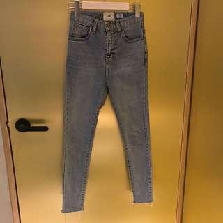 正韓 高腰顯瘦牛仔褲實拍
