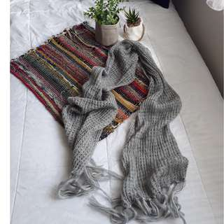 Gray Scarf with Tassels at the end