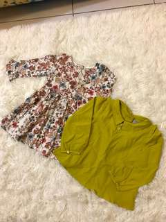 NEXT七分袖碎花上衣/洋裝+NEXT芥末黃上衣 二件組